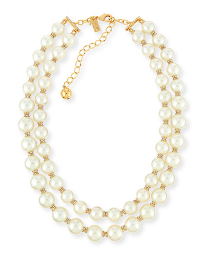 pearly two-strand necklace, cream