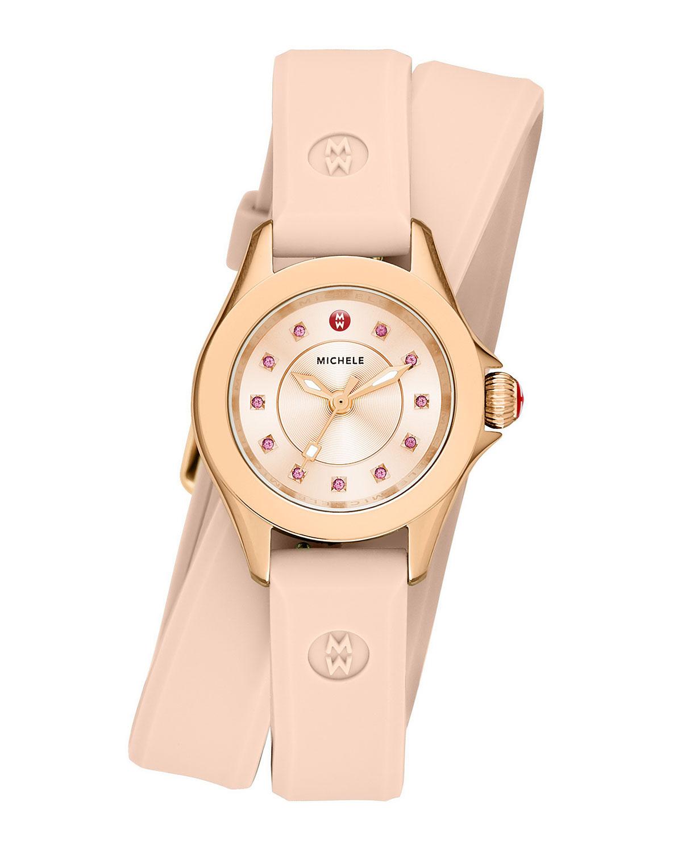 Cape Mini Topaz Watch w/ Double-Wrap Silicone Strap, Blush Pink
