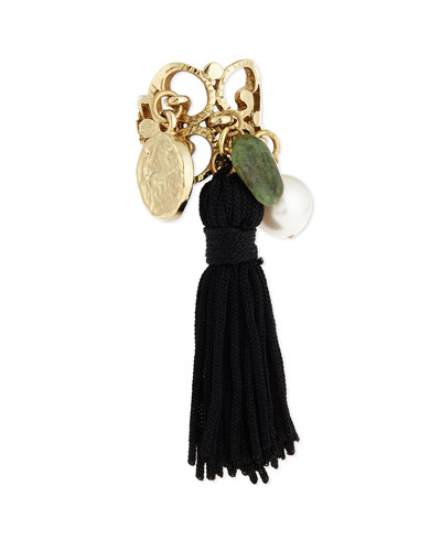 Tassel Charm Ring, Black