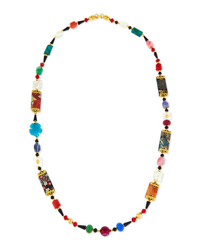 Long Floral-Print Mixed Bead Necklace, 48