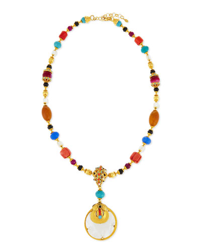 Mixed-Bead Mother-of-Pearl Pendant Necklace, 31