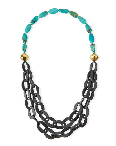 Chain-Link Double-Strand Turquoise Necklace, 39