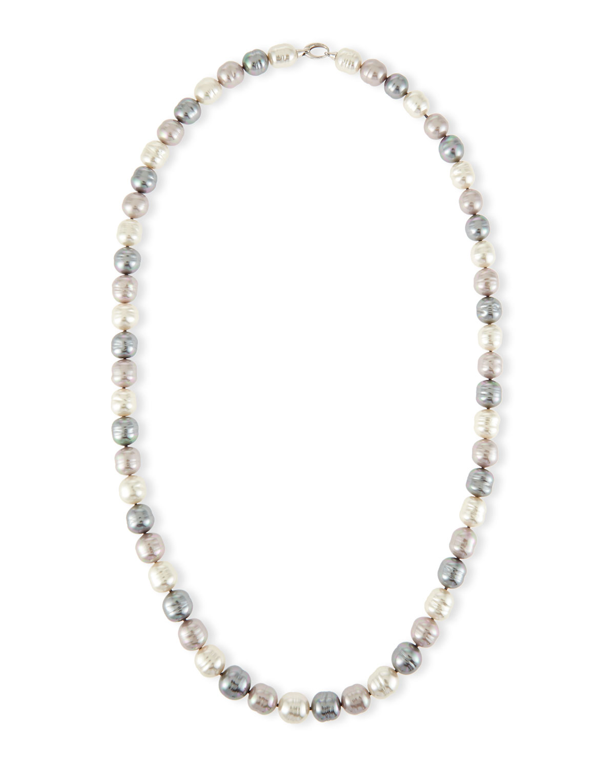 Long Three-Tone Baroque Pearl Necklace, 36