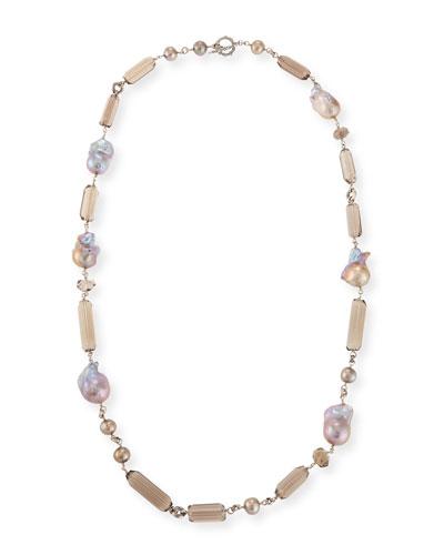 Long Quartz & Pearl Necklace, 32