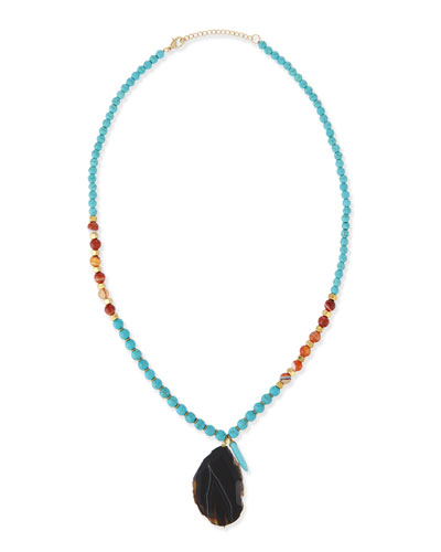 Mixed Long Pendant Necklace, Turquoise, 26