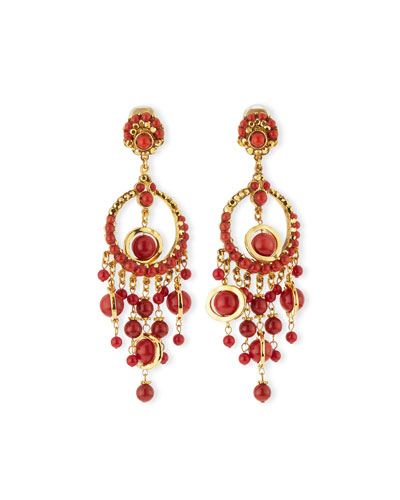 24k-Plated Chandelier Clip Earrings w/ Coral Drops