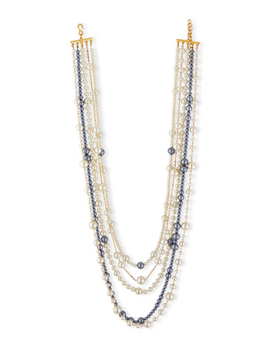 Multi-Strand Pearly Bead Necklace, White/Gray, 32