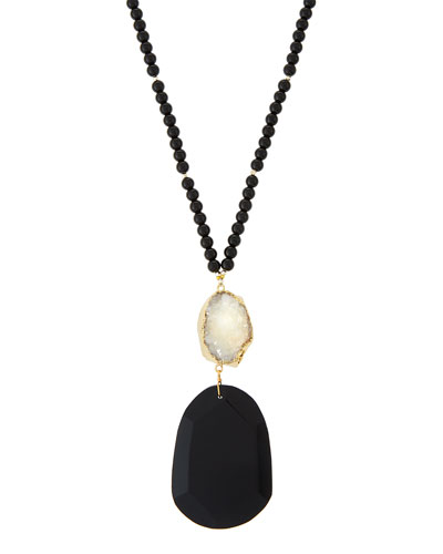 Agate Beaded Pendant Necklace w/ White Druzy
