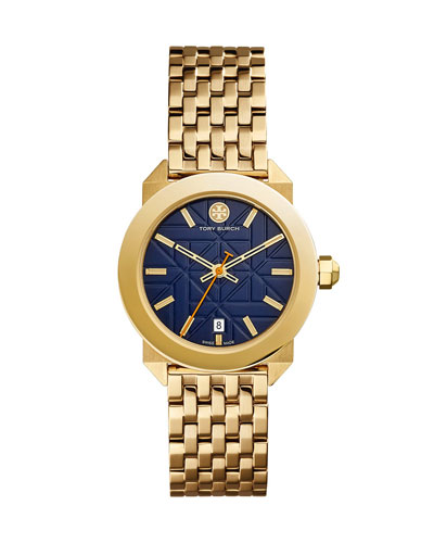Whitney Golden Bracelet Strap Watch, Navy