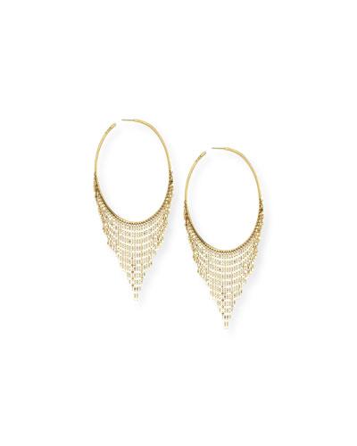 Large 14K Fringe Hoop Earrings