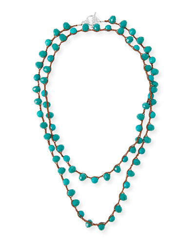 Long Crocheted Turquoise Necklace, 39
