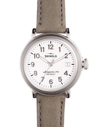 38mm Runwell Coin-Edge Leather Strap Watch, Heather Gray