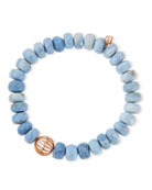 10mm Faceted African Opal Bead Bracelet with 14k Ball Spacer