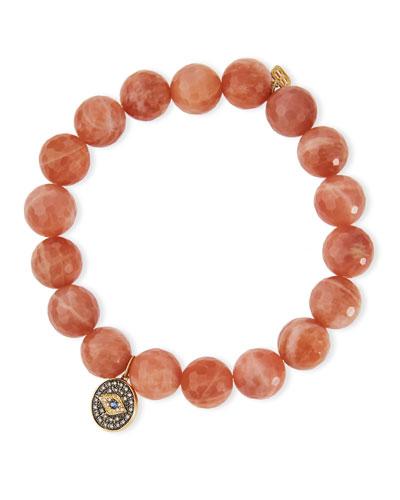 10mm Faceted Moonstone Beaded Bracelet w/ 14k Diamond Evil Eye Charm, Peach ...