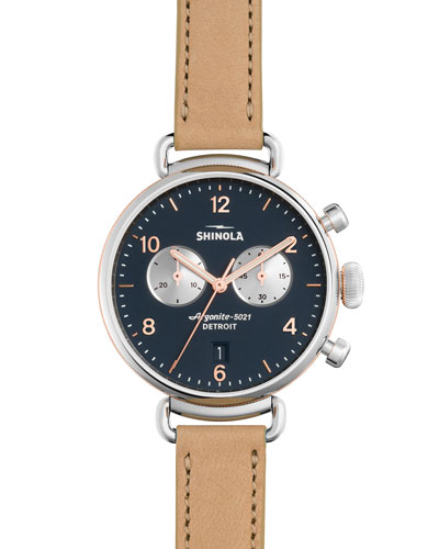 38mm Canfield Leather Strap Watch, Natural/Siler