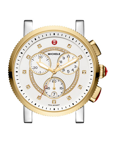 Large Sport Sail Diamond-Dial Two-Tone Watch Head