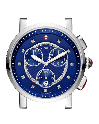 Large Sport Sail Diamond-Dial Watch Head, Blue