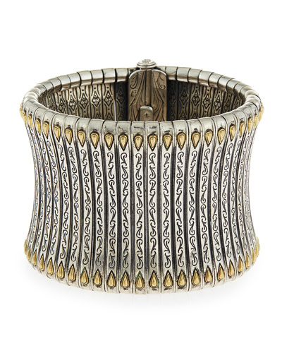 Sterling Silver & 18K Tower Cuff Bracelet
