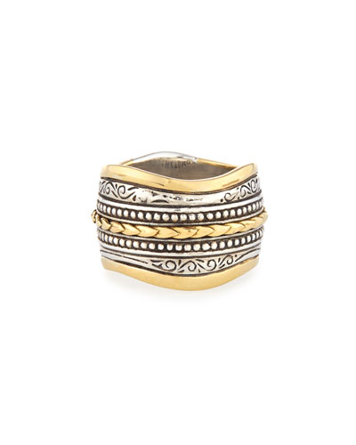 Carved Sterling Silver & 18K Gold Ring