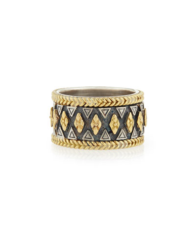 Wide 18K Gold & Sterling Silver Ring