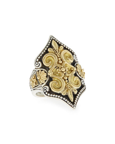 Carved 18K Gold Fleur de Lis Ring
