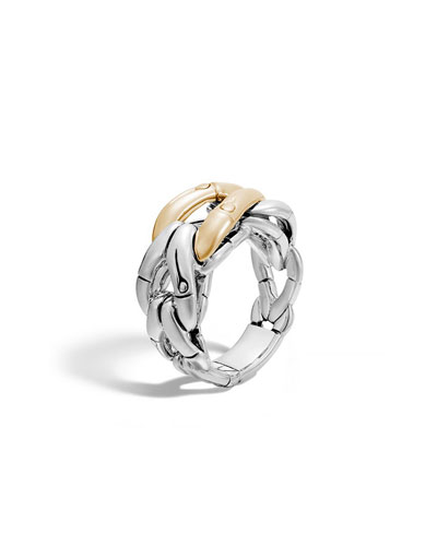 18K Gold & Sterling Silver Bamboo Link Ring