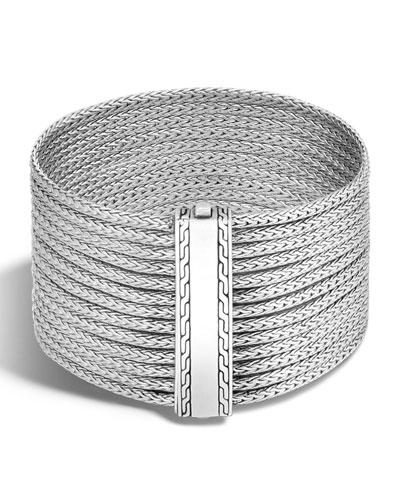 Classic Chain Multi-Row Wide Cuff Bracelet