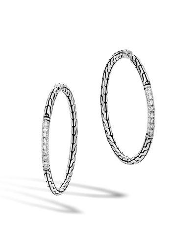 Classic Chain Pavé Diamond Medium Hoop Earrings
