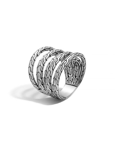 Classic Chain Multi-Row Sterling Silver Ring