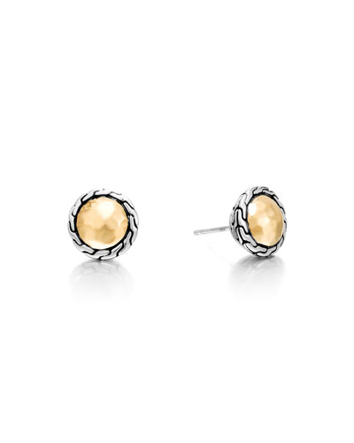 18K Gold Chain Round Stud Earrings