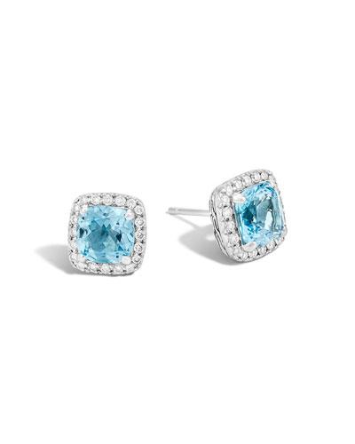 Classic Chain Diamond & Blue Topaz Stud Earrings