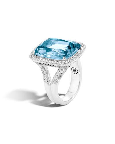 Faceted Topaz & Pavé Diamond Ring, 0.62 tdcw
