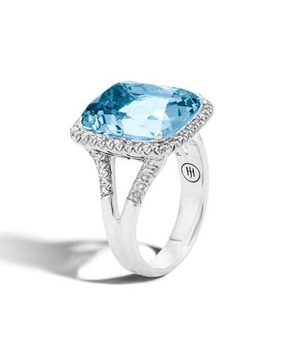 Faceted Topaz & Pavé Diamond Ring, 0.3 tdcw