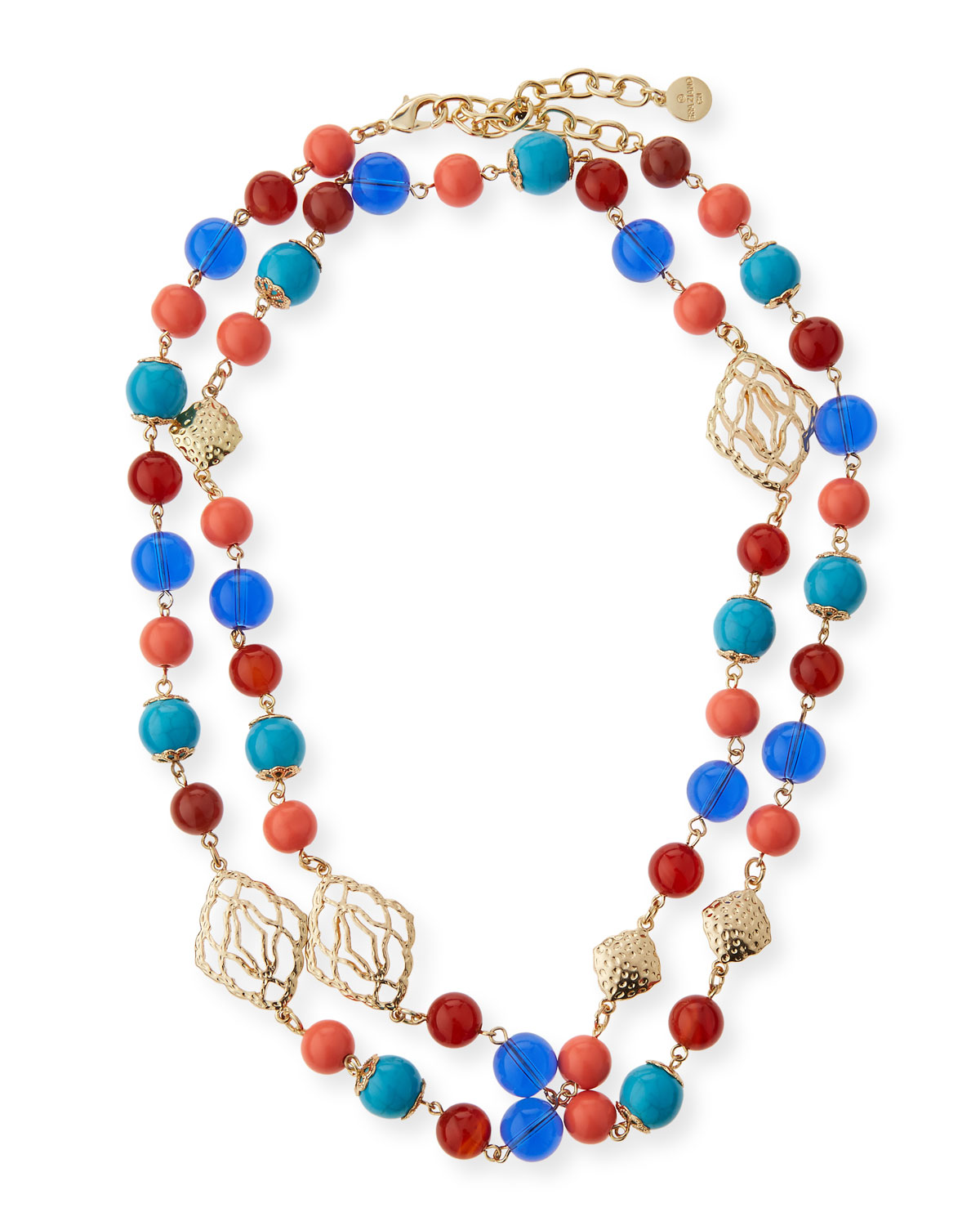 Global Beaded Long Necklace, Gold/Multi
