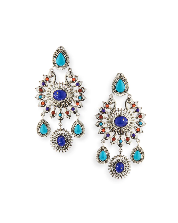 Global Chandelier Earrings, Silver/Multi