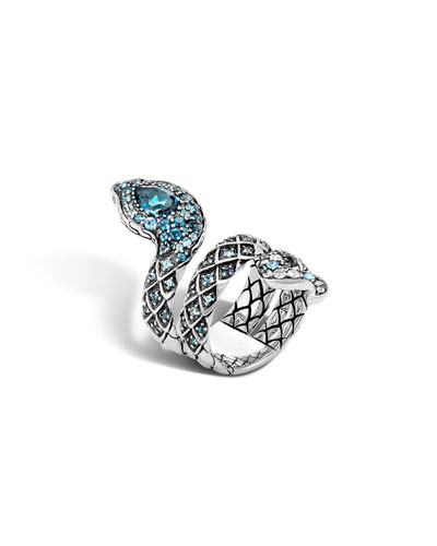 Cobra Lava Blue Topaz Double-Coil Ring
