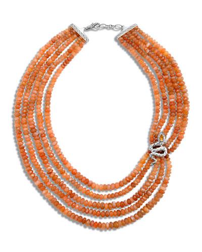 Legends Cobra Multi-Strand Peach Moonstone Necklace, 18