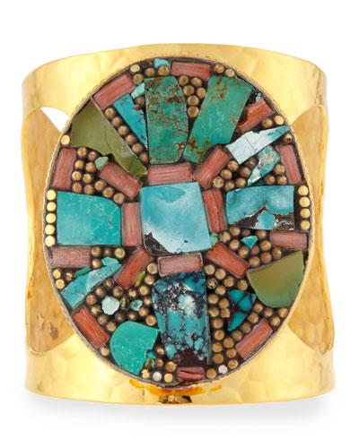 Turquoise Medallion Cuff Bracelet