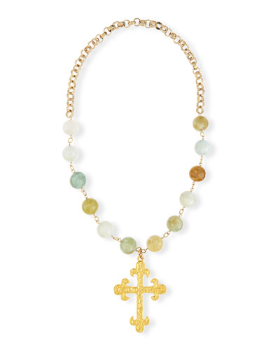 Faceted Aquamarine Cross Pendant Necklace