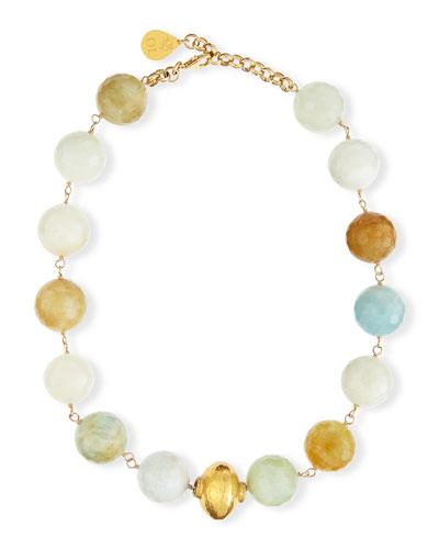 Faceted Aquamarine Single Strand Necklace