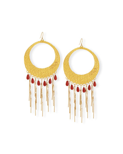 Coral Statement Hoop Earrings
