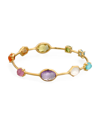18K Gold Rock Candy Multi-Stone Bangle in Summer Rainbow