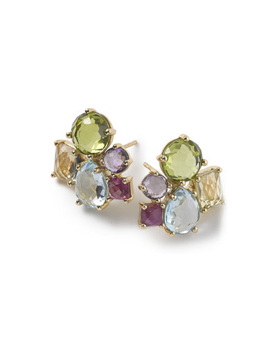 18K Rock Candy Mixed Cluster Earrings in Summer Rainbow