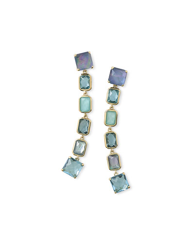 18K Rock Candy Extra-Long 6-Stone Earrings in Waterfall