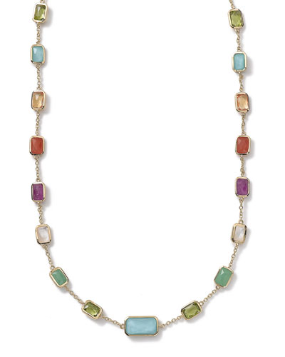 18k Gold Rock Candy Multi-Stone Necklace in Summer Rainbow, 18