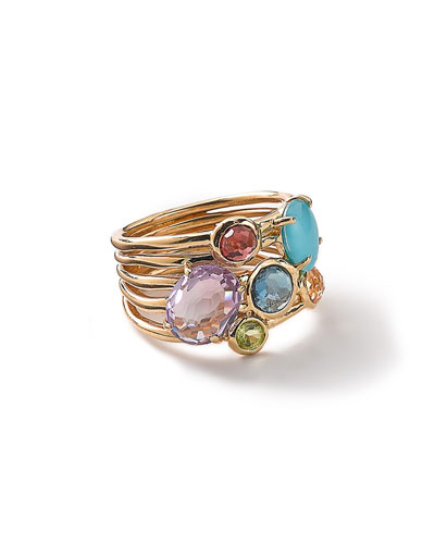 18k Gold Rock Candy Gelato 6-Stone Cluster Ring in Summer Rainbow, Size ...