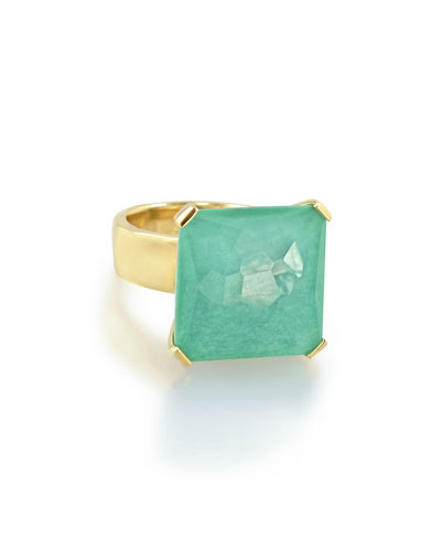 18K Rock Candy Large Octagon Doublet Ring in Turquoise, Size 7