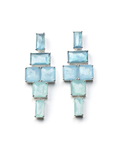 Stacked Linear Post Drop Earrings in Blue Star