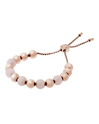 Large Bead Slider Bracelet, Rose Golden