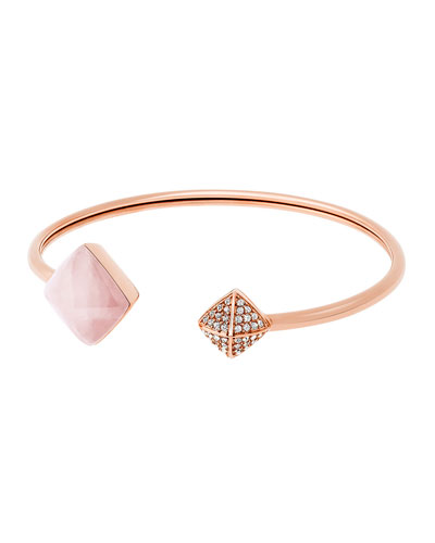 Pyramid Open Cuff Bracelet, Rose Golden